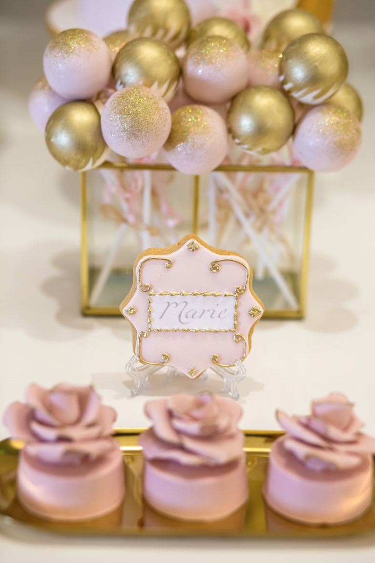 GC Couture and Gordon Ramsay Weddings Pink & Gold Ornate Wedding Cookies