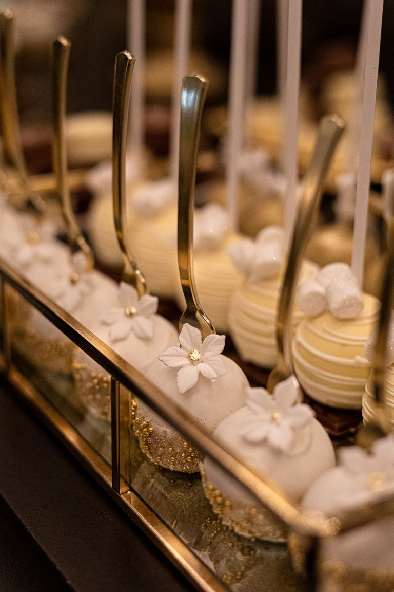 elegant cake pops with gold forks by GC Couture