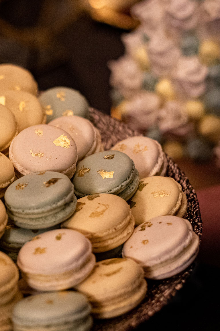 pastel macarons at palm court, kimpton kitzroy painted with gold leaf