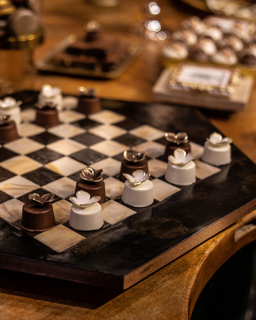 chess board made out of cake at Maison Assouline by GC Couture