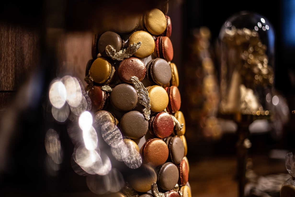 macaron tower closeup at Maison Assouline by GC Couture