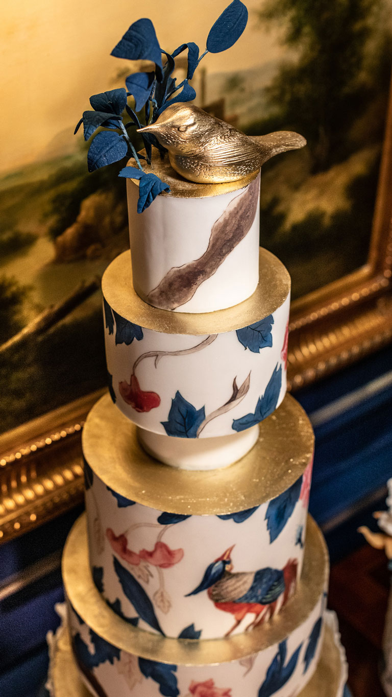 A closeup of GC Couture's 5-tier cake at The Stafford, London