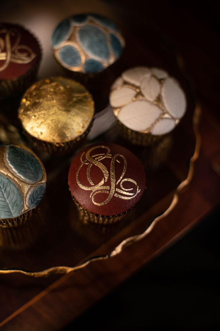 Luxurious cupcakes by GC Couture for The Stafford, handpainted in gold.