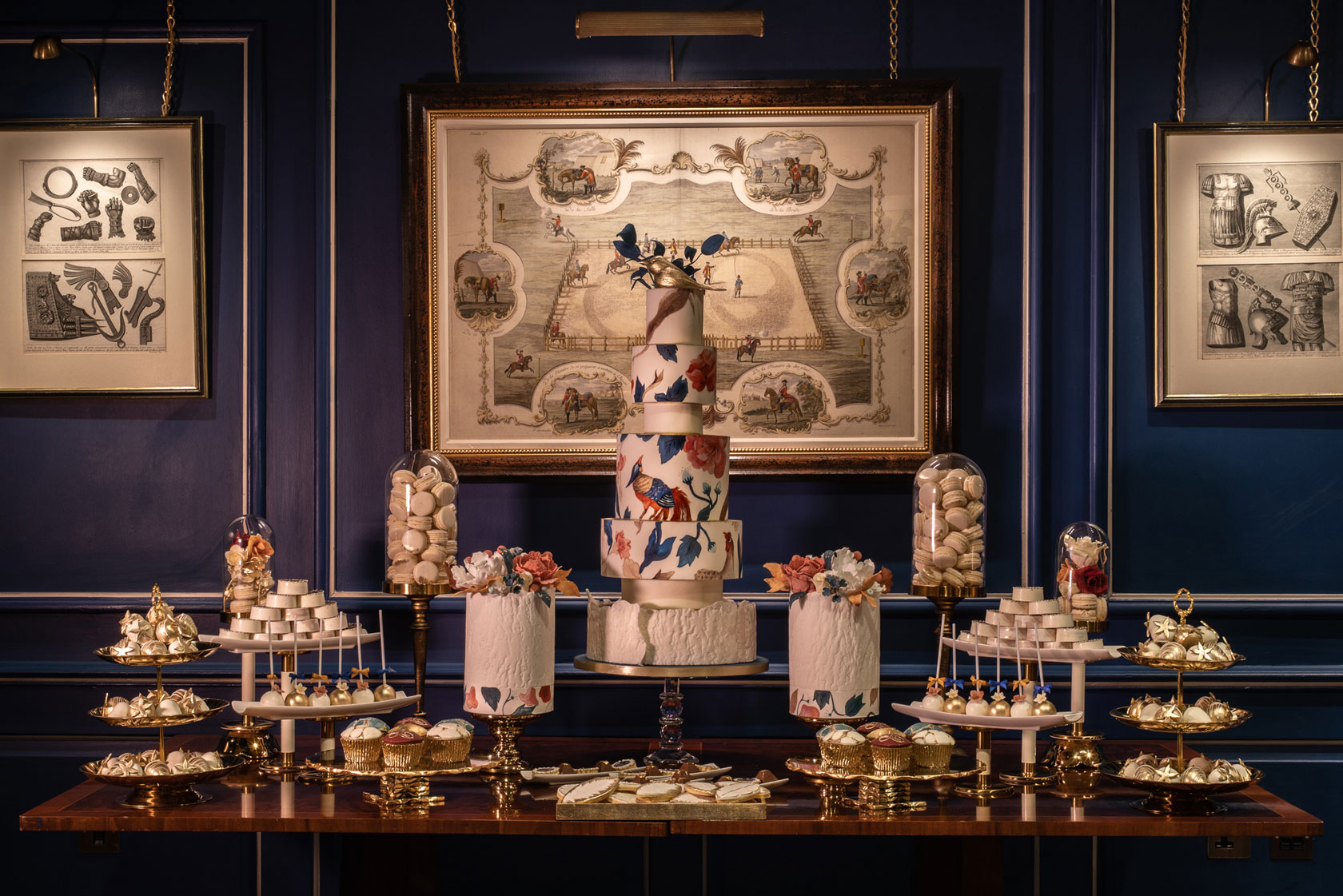 In the historic Sutherland Room At The Stafford sits GC Couture's Indulgence Bar® Dessert Table Cake Display