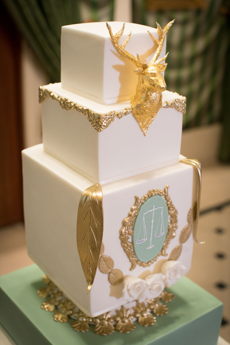 Gold Leaf Stag Head Wedding Cake by GC Couture at The Lanesborough Hotel, Knightsbridge